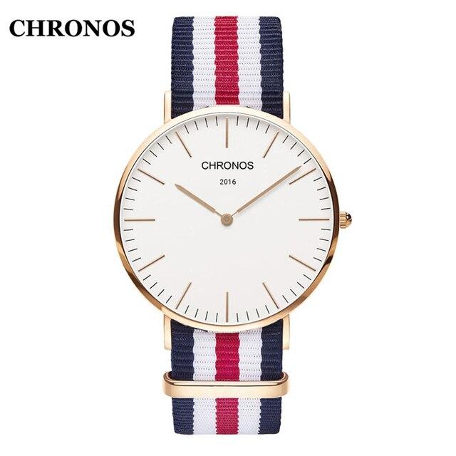 Chronos Fashion Men's Watches Simple Unisex Watches Nylon/Leather Strap Women Wa