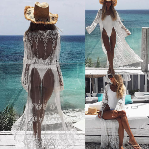 2018 New Summer Women Sarong White Lace Maxi Bikini Cover Up Pareo Beach Long Chiffon See Through Crochet Cardigan Beach Dress