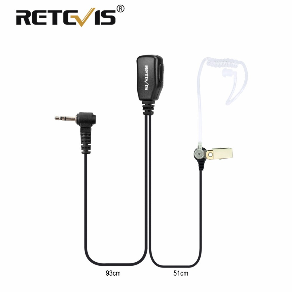 1Pin PTT MIC Earpiece Covert Air Acoustic Tube Headset For Motorola Walkie Talkie T270/T4000/T5800/SX500/T50 Retevis RT45 C9027A