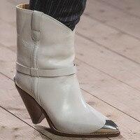 Зимняя обувь в западном стиле, из натуральной кожи, до середины икры ковбойские ботинки для Для женщин мотоциклетные туфли на высоком каблу