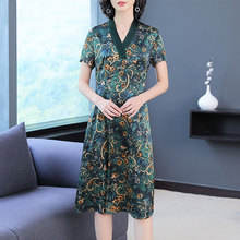 green 100 Silk Dress High Quality Plus Size Large for Women 2019 Summer V-neck Print Floral Elegant Vintage loose casual Clothes