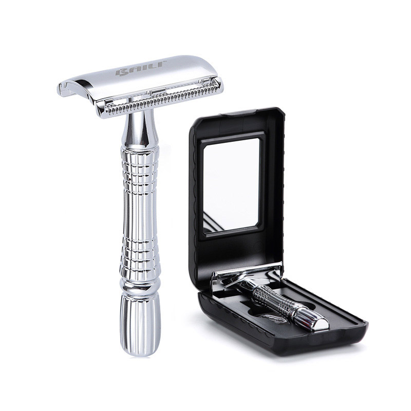 Mäns rakning Razor Double Edge Safety Razor Zink Alloy Safety Razor Klassisk För Män 1 Razor 1 Blade 1 Case Shaver Set