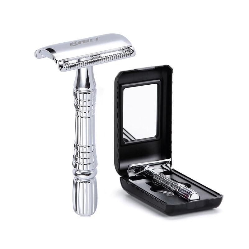 Men's Shaving Razor Double Edge Safety Razor Zinc Alloy Safety Razor Classic For Men 1 Razor 1 Blade 1 Case Shaver Set