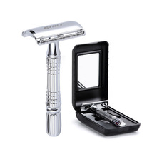 лучшая цена Men's Razor Double Edge Safety Razor Zinc Alloy Safety Razor Classic Razors For Men 1 Handle +1 Blade +1 Case Shaver set