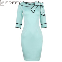 LERFEY Women Autumn Winter Dress Half Sleeve Plus Size Dresses Bow Retro Office Bussiness Bodycon Slash