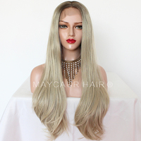 Maycaur Brown Blonde Ombre Color Synthetic Lace Front Wigs Long Straight Wig with Natural Hairline Glueless Wig for Black Women