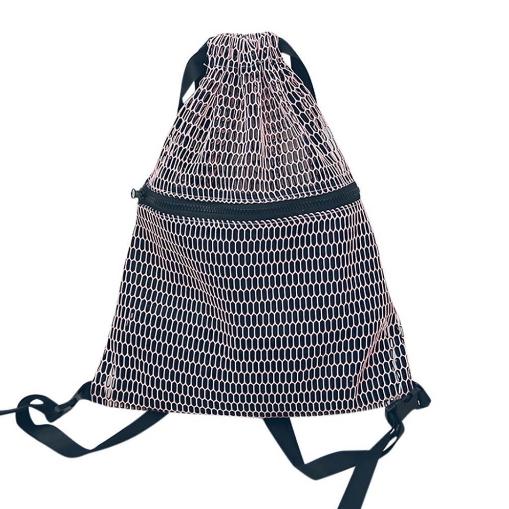 2019 nisex Drawstring backpack mesh cloth pocket students backpack Sport Beach Bag f0108