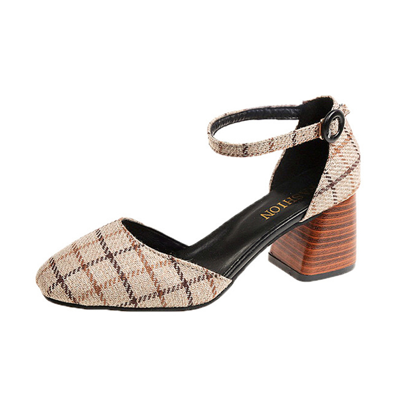 High Heels Shoes Women Pumps Square Toe Summer Sandals Thick Heels Plaid Casual Good Quality Female Office Shoes Comfortable 8