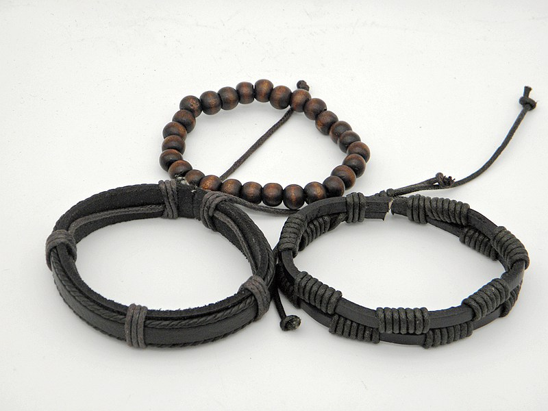 Stylish leather Braid Hemp bracelets Men's Women's Handmade Wood Beads leather Wrap Combined bracelets Jewelry Gifts 3pcs/set 17