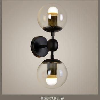แก้ว 2 หัวแก้วถั่วเมจิก Led โคมไฟผนังอุตสาหกรรม Retro Wandlamp Cafe เหล็กห้องนั่งเล่นตกแต่งห้องนอน light