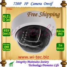 Built in WIFI 720P IR Dome Vandal proof Plastice Indoor CCTV Cam Onvif IP Camera SD Card Alarm Motion detect P2P Mobile view