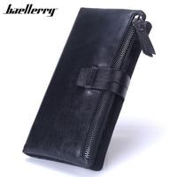 Baellerry Newest Men Long Wallet Luxury Brand Genuine Leather Wallets Male Zipper Cow Leather Handbag Phone