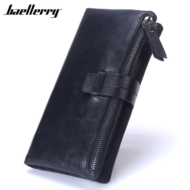 Baellerry Newest Men Long Wallet Luxury Brand Genuine Leather Wallets Male Zipper Cow Leather Handbag Phone ID Card Coin Purse baellerry luxury men wallets metal side wallet men mini purse men s leather multi card bit bifold wallet brand small male purses