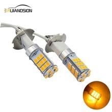 Ruiandsion 2pcs New 4W H3 Car Auto Fog Lights Bulb Driving Light 2835 33SMD 3000K Yellow Leds Trucks 12V 24V White universal