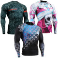 Man's Long Sleeves Full 3D Prints Compression Shirts Tight Skin Rash Guard Workout Fitness MaleMMA Body Building Top Shirts