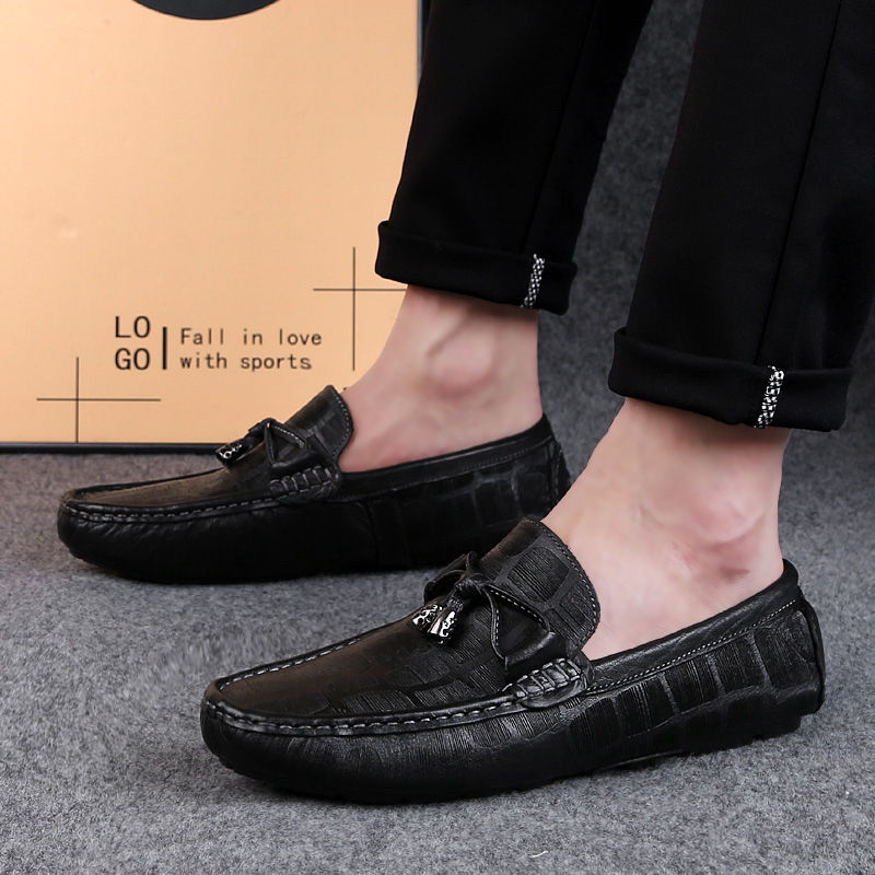 2019 new spring fashion men 39 s shoes casual genuine leather loafers man slip on shoe classic trending brown amp black shoes for men in Men 39 s Casual Shoes from Shoes