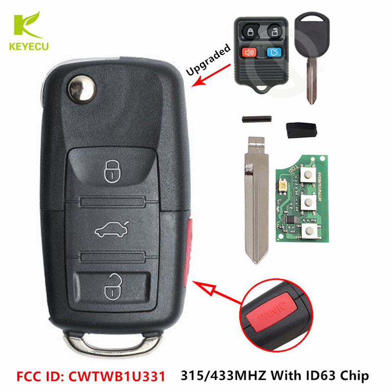 No chip 4 Buttons Modify uncut Flip folding REMOTE FOB key CASE SHELL for FORD Focus Expedition Mustang Fusion Taurus Explorer Sport Trac Five Hundred Escape Escort Thunderbird Crown Victoria LINCOLN Town Car Navigator Mercury Sable Mountaineer