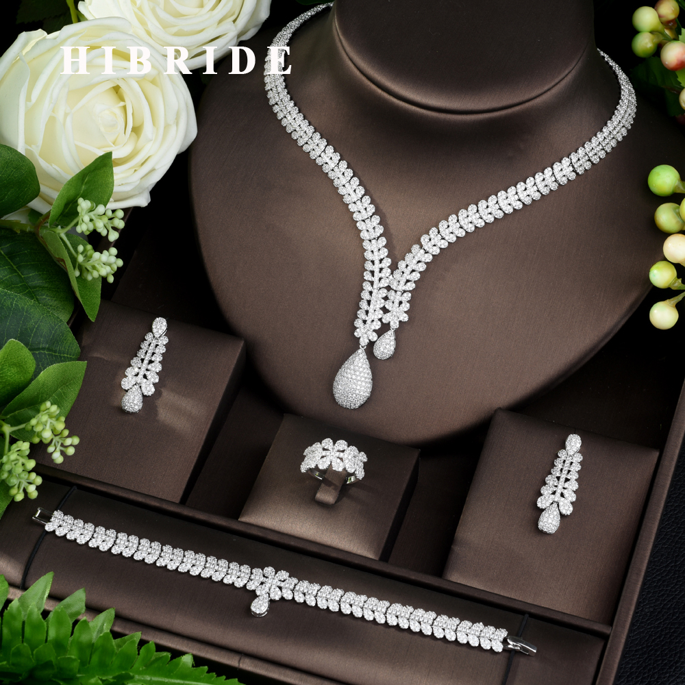 HIBRIDE Fashion Bridal 4pcs Ladies Wedding Jewelry Sets With AAA Cubic Zircon Stone Party Accessories Dubai