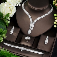HIBRIDE Fashion Bridal 4pcs Ladies Wedding Jewelry Sets With AAA Cubic Zircon Stone Party Accessories Dubai Jewelry Set N 962