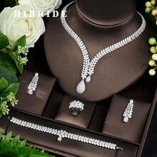 HIBRIDE Mode Braut 4 stücke Damen Hochzeit Schmuck Sets Mit AAA Cubic Zirkon Stein Party Zubehör Dubai Schmuck Set N 962