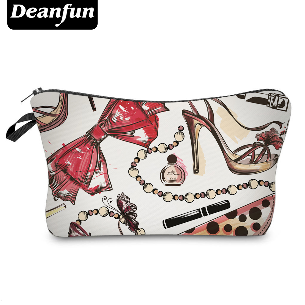 Deanfun 3D Printing Cosmetic Bags  Zipper Polyester Bowknot Organizer For Travel Necessary For Women Makeup Fashion 50756
