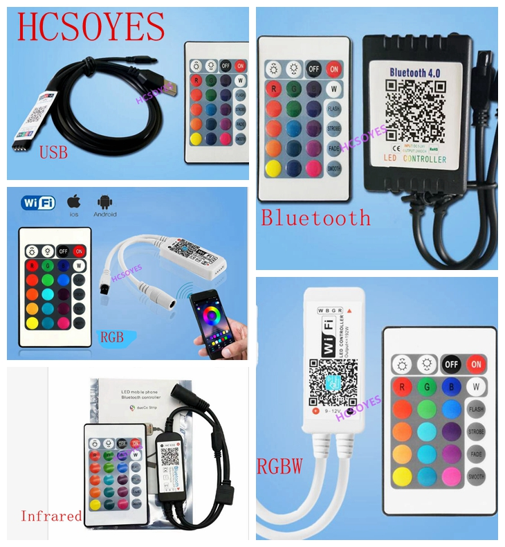 24key ir rf Bluetooth/Infrared/RGBW/USB/<font><b>WIFI</b></font> remote Wireless colorful rgb <font><b>LED</b></font> strip controller mobile APP <font><b>TV</b></font> background light image