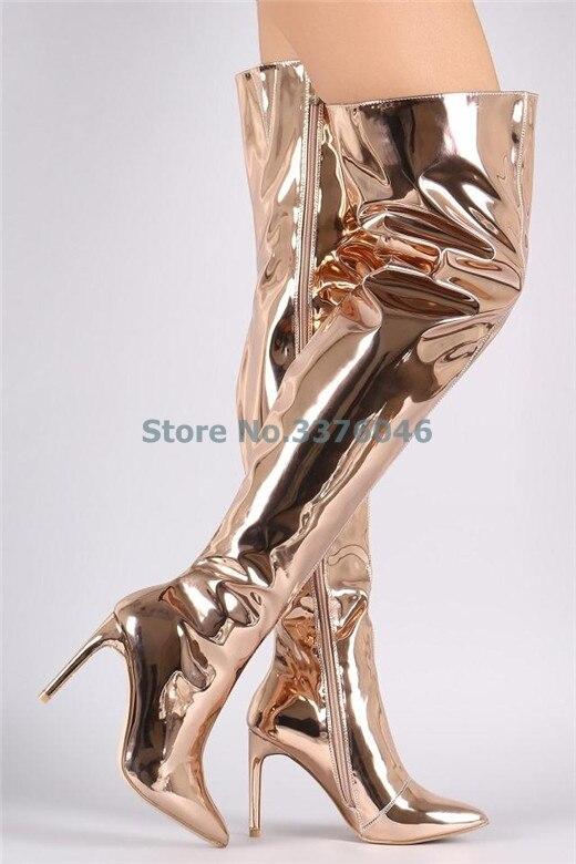 Or Rose bout pointu mince talon haut longue botte métallique fermeture à glissière sur le genou bottes mode miroir Effact Night Club femmes chaussures
