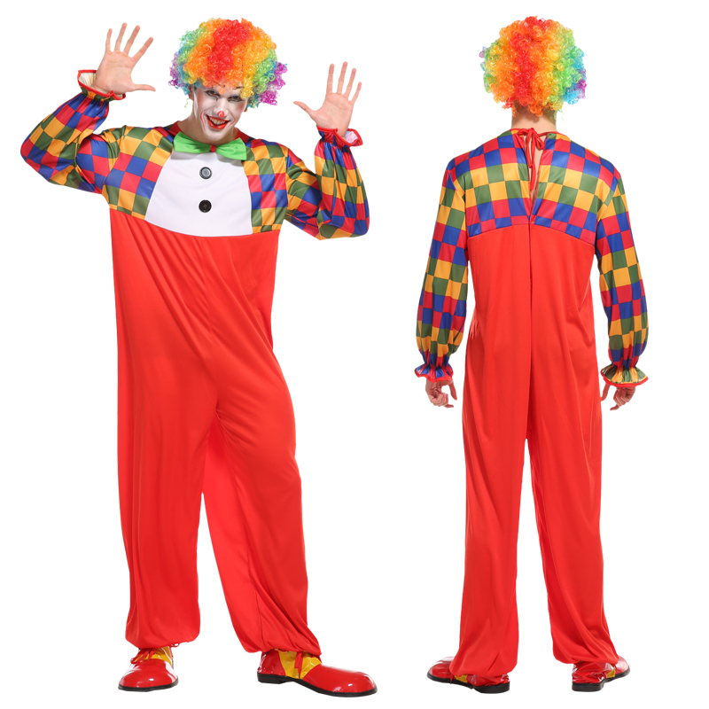 Halloween Christmas New Costumes Adult Funny Circus Clown Costume Naughty Harlequin Uniform Fancy Dress Cosplay Clothing for Men