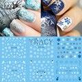 1 Hoja de Etiqueta Engomada Del Clavo de Agua Diseños de Tatuajes Temporales de Navidad Alces/Nieve Flores/Búho de Transferencia de Patrones de Belleza Del Arte Del Clavo STZ429-439