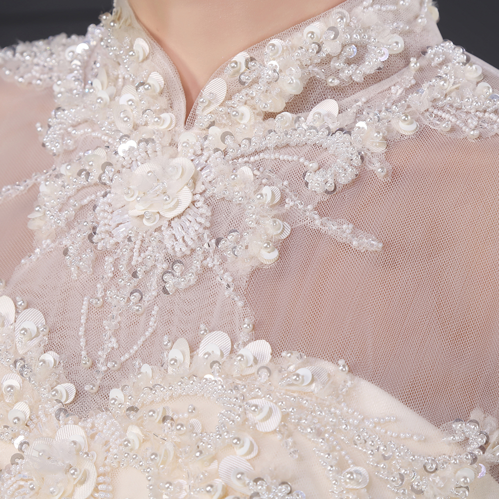 1779ef0649 SL029 elegancki szampana line suknia ślubna romantyczna aplikacje z  koralików wysokiej szyi księżniczka klasyczna suknia ślubna vestido de  noiva w SL029 ...