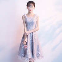 Appliques Star Grey Cheongsam Qipao Women Spaghetti Dress With Bows Short Lace Sexy Elegant Tight Robe De Soirree Vestidos