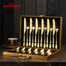 24pc/set Stainless Steel Dinnerware Set With Gift Box Spoon Fork Knife Kits Polishing Tableware For Hotel Party