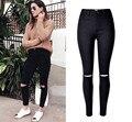 2 cor Casual rasgado calça jeans lápis comprimento do joelho borlas alta waisted completa calças calças leggings jegging plus size mulheres