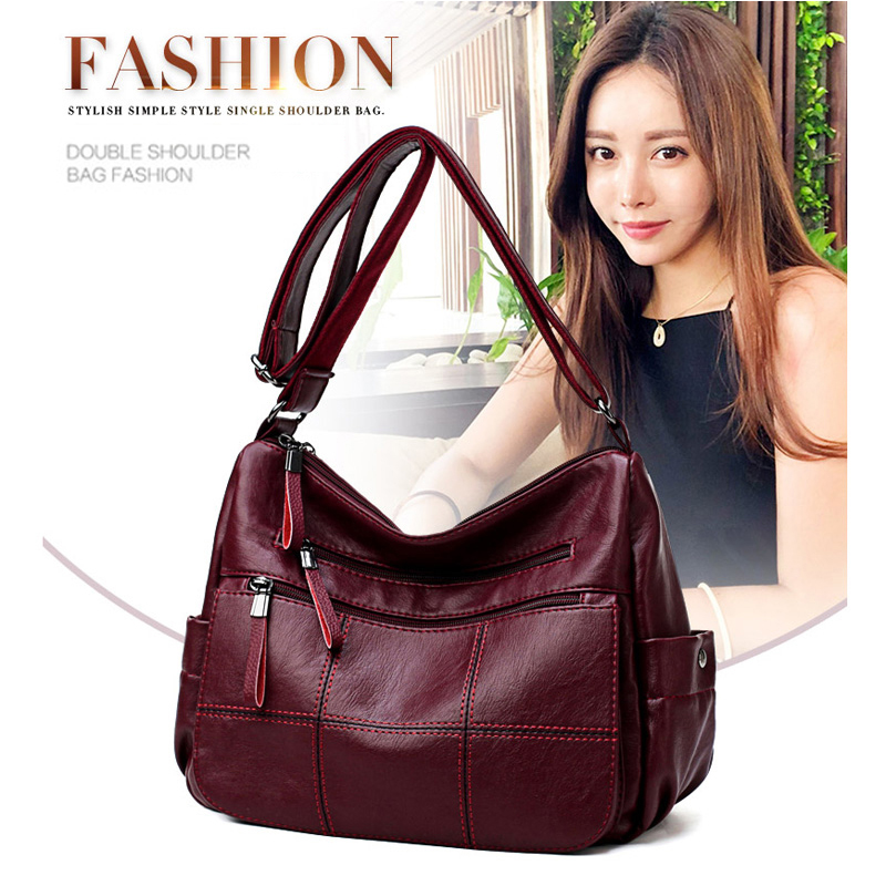 O SHI CAR Women's Pu Leather Large Capacity Messenger Bags 2-layer Design Fashion Shoulder Bag Soft And Wear-resistant
