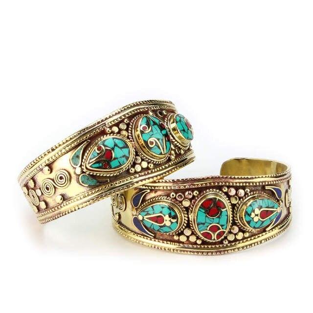 BB-432 Tibetan jewelry Indian colorful Bohemian fashion Metal bangle brass inlaid Stone Coral bangle