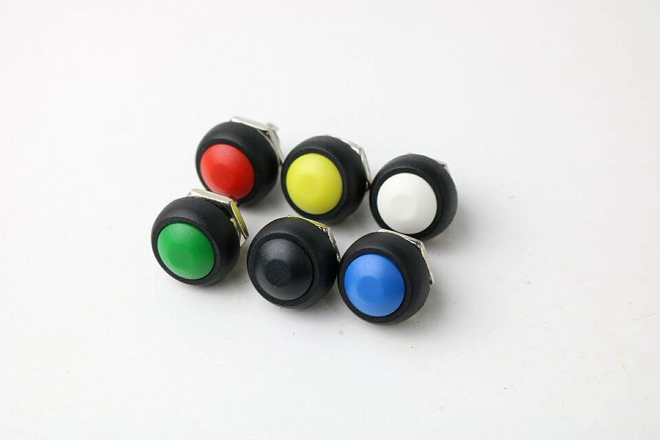 1pcs 12mm Waterproof Momentary Push button Switch Sales Black Red Green Yellow White Blue 0021 desk office colored abs steel push pins white yellow blue green red
