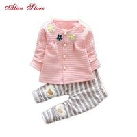 2015 New Baby Cothes Girls Flower Suit Cardigan Pants 2pcs Set Infant Jacket Kids Clothes Striped