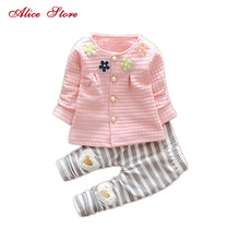 2017 New Baby Cothes Girls Flower Suit Cardigan + Pants 2pcs / set infant jacket Kids clothes Striped Pants free shipping(China)