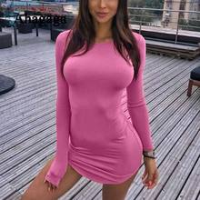 Ameision 2019 summer Bodycon Solid Pink Regular Long Sleeve O-neck Casual Sexy Club Sheath Dress Women Dresses Vestidos Robes