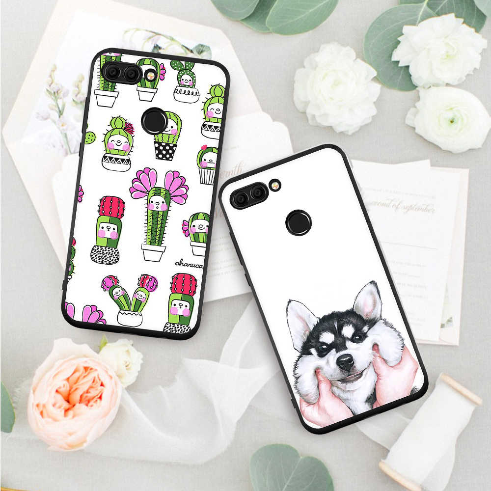 Motjerna Soft TPU Matte Phone Case For Huawei Mate 10 Lite Y9 2018 Cute Cat Cactus Painted Slim Cover for Huawei Mate 10 Pro