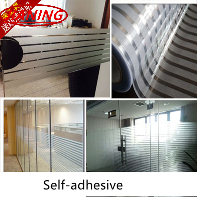 Self Adhesive Frosted Striped Glass Film Window Stickers Office Waist Line  Sliding Door Partition Translucent