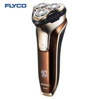 Flyco 3D floating head Rechargeable Portable body washable Electric Shaver Led Light Fast Charge Triple Blade barbeador FS379