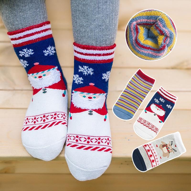 co23 Autumn and winter children warm socks baby Christmas cartoon cotton socks 3 pairs