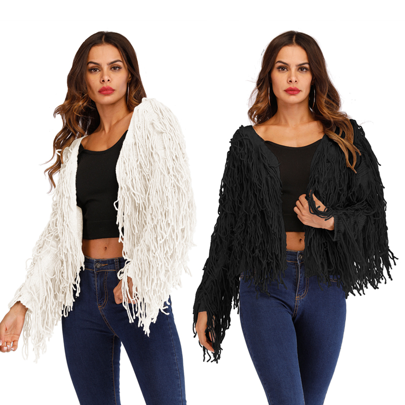 PGSD Simple fashion pure color Autumn winter sweater Handmade tassel Deep V cardigan Short woolen knitted Long sleeves sweater