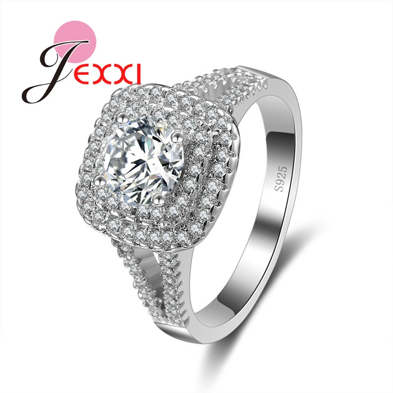 JEXXI Super Luxurious Women/Girls S90 Silver Fashion Square Ring Full High Quality CZ Crystal  Cubic Zirconia Wholesale
