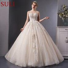 SL-7006 роскошное кружевное бальное платье с вышивкой без бретелек, свадебное платье, королевское свадебное платье
