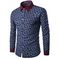 Горячая Продажа мужская мода рубашку с длинными рукавами печати темперамент столкновение цвет рубашки Брендовой Одежды Англия рубашки