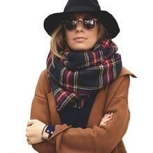 Luxury Winter Red font b Tartan b font Female Scarf Desigual Checkered wool Blend Shawls Women