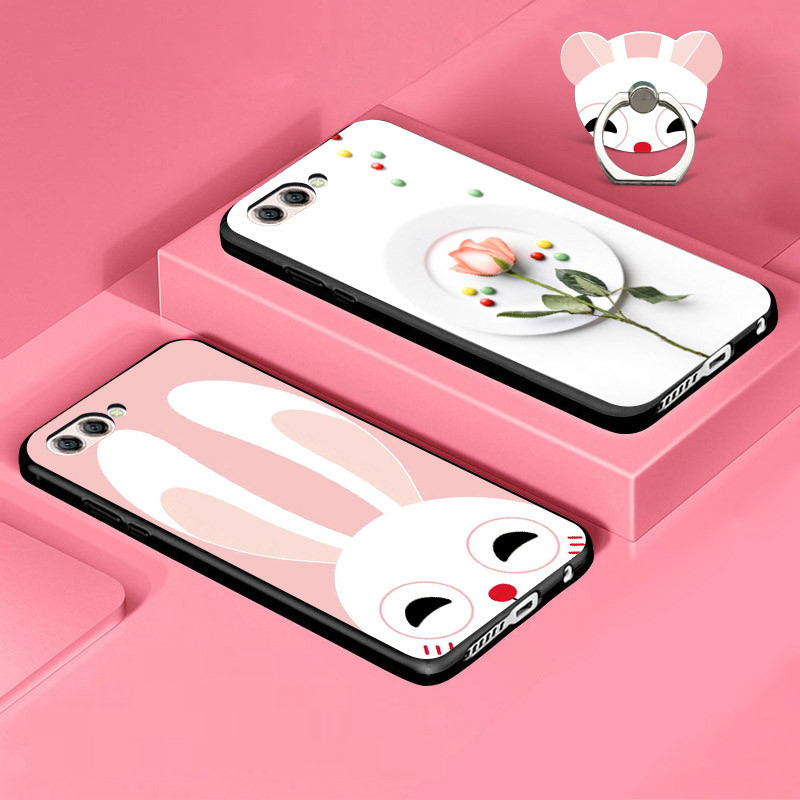SRHE For Huawei Honor 10 Case Cartoon 3D Cute Soft TPU Silicone Full Cover For Huawei Honor 10 COL-L29 With Finger Ring Holder