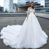 Swanskirt Elegant Appliques Long Sleeve Wedding Dress 2019 Luxury Boat Neck Ball Gown Princess Bride Gown Vestido de Noiva F117
